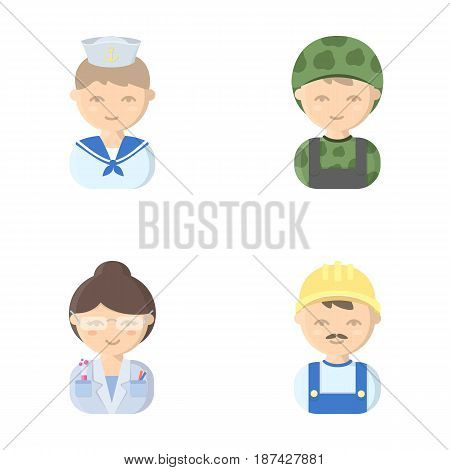 Sailor, soldier, scientist, builder.Profession set collection icons in cartoon style vector symbol stock illustration .