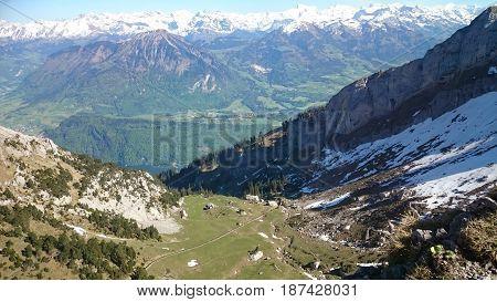 Schnee Berg Schweiz Bergbahn Zahnradbahn See Aussicht Deutsschweiz Berge Alpen