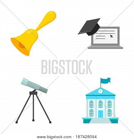 School bell, computer, telescope and school building. School set collection icons in cartoon style vector symbol stock illustration .