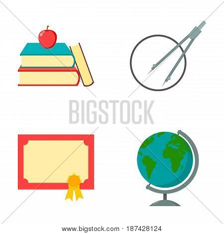 Books, an apple, a compass with a circle, a diploma with a seal, a globe. School set collection icons in cartoon style vector symbol stock illustration .