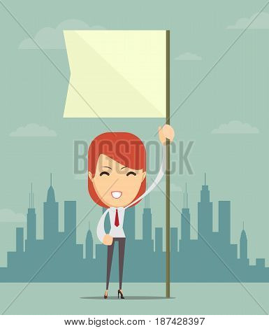 Image of attractive businesswoman holding white flag. Place for text. Stock vector illustration for poster, greeting card, website, ad, business presentation, advertisement design.