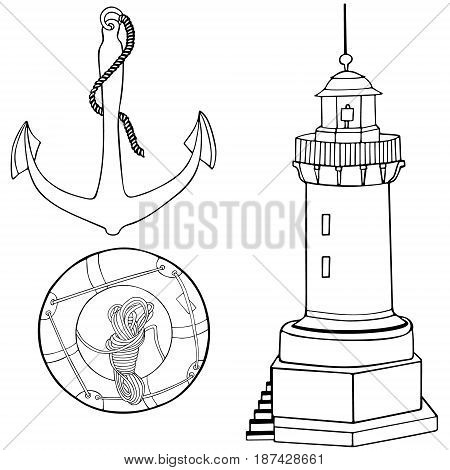 Anchor light tower ring buoy hand draw on white. Object isolated.