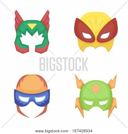 Mask on the head, helmet.Mask super hero set collection icons in cartoon style vector symbol stock illustration .