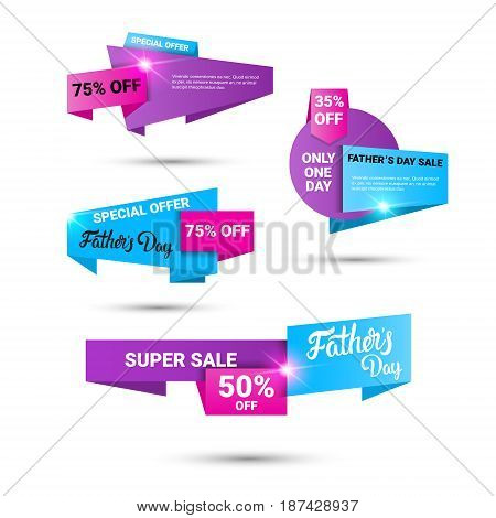 Happy Father Day Holiday Sale Shopping Discount Banner Set Vector Illustration