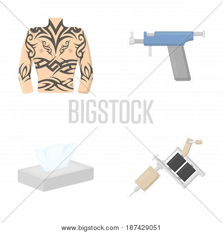 Body tattoo, piercing machine, napkins. Tattoo set collection icons in cartoon style vector symbol stock illustration .