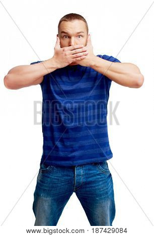 portrait of a young man closing mouth sign  isolated against white background