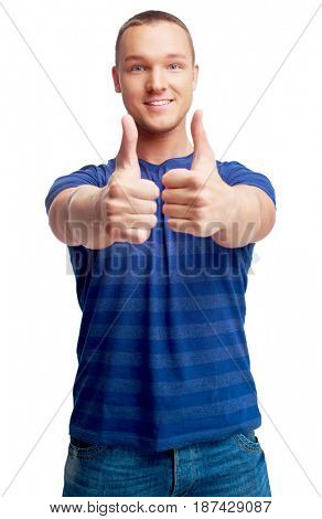 portrait of a young man showing thumbs up  isolated against white background