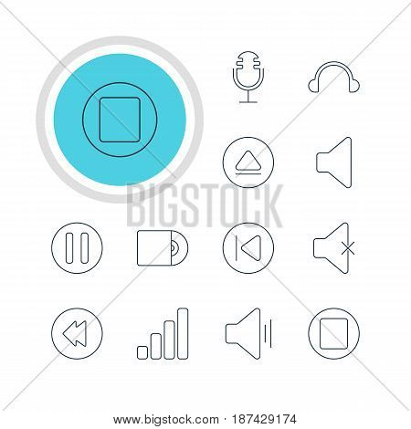 Vector Illustration Of 12 Melody Icons. Editable Pack Of Lag, Audio, Mike And Other Elements.