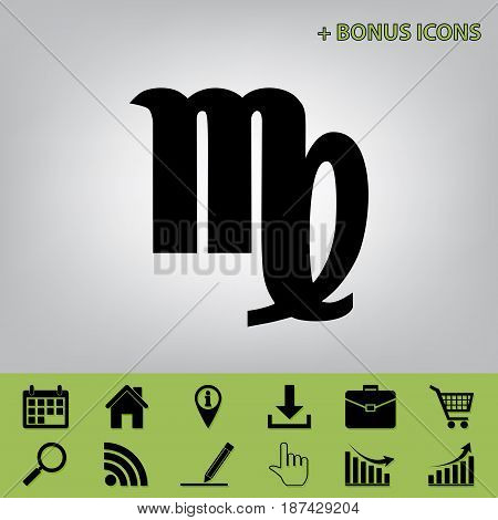 Virgo sign illustration. Vector. Black icon at gray background with bonus icons at celery ones