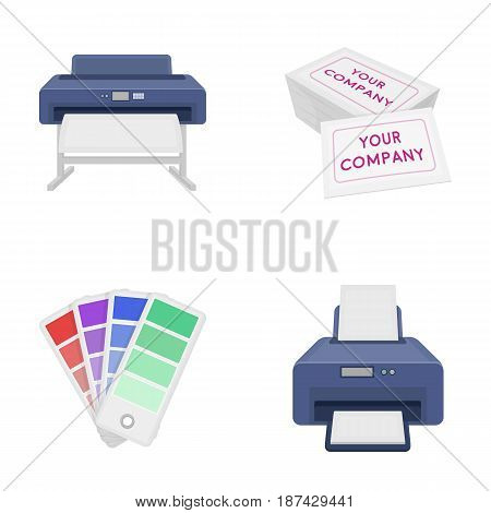 Printer, credit card, color palette.Typography set collection icons in cartoon style vector symbol stock illustration .