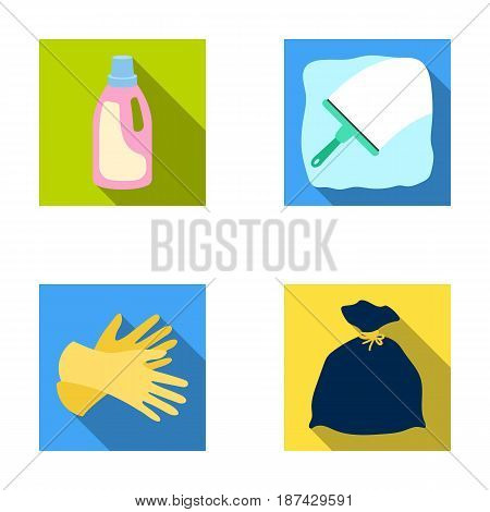 Gel for washing in a pink bottle, yellow gloves for cleaning, a brush for glass, a black bag for garbage or waste. Cleaning set collection icons in flat style vector symbol stock illustration .