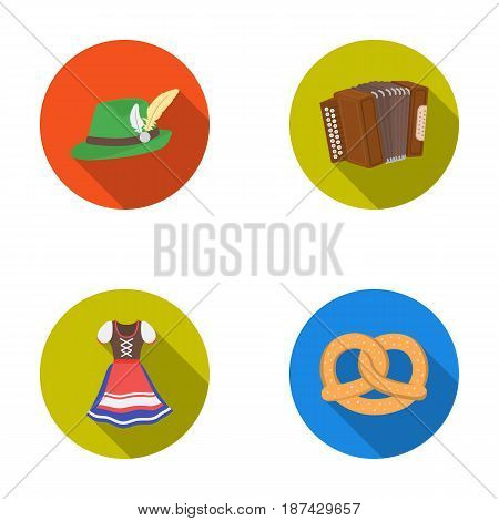 Tyrolean hat, accordion, dress, pretzel. Oktoberfestset collection icons in flat style vector symbol stock illustration