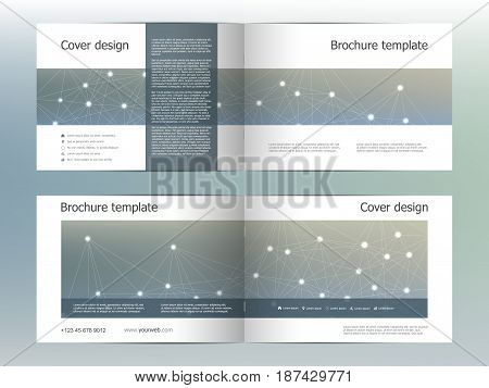 Rectangle brochure template layout, cover, annual report, magazine in A4 size with hexagonal molecule structure. Geometric abstract background