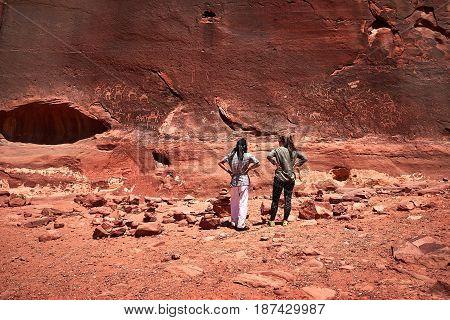 Rock Paintings, Wadi Rum, Arabian Desert, Jordan