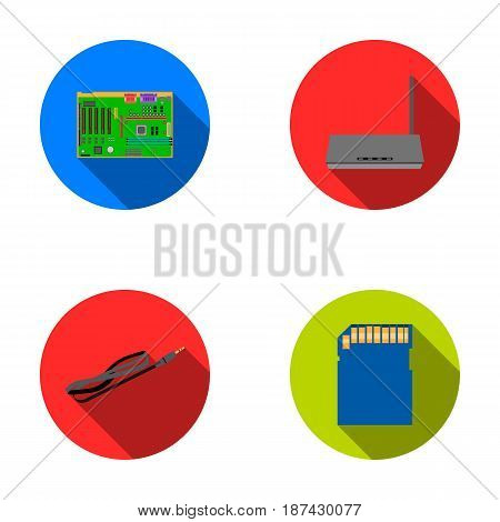 Motherboard, router and other accessories. Personal computer set collection icons in flat style vector symbol stock illustration .