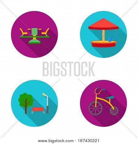 Carousel, sandbox, park, tricycle. Playground set collection icons in flat style vector symbol stock illustration .