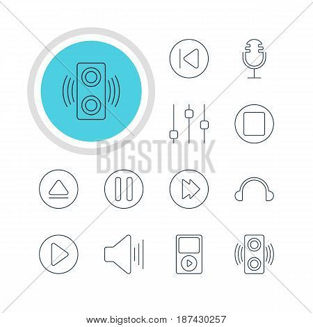 Vector Illustration Of 12 Music Icons. Editable Pack Of Amplifier, Earphone, Pause And Other Elements.