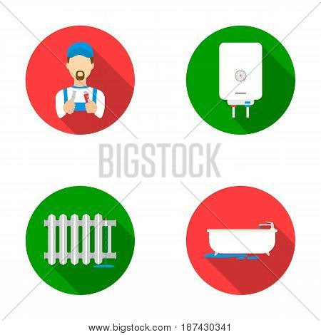 Plumber, boiler and other equipment.Plumbing set collection icons in flat style vector symbol stock illustration .