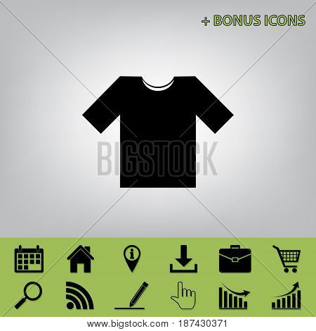 T-shirt sign illustration. Vector. Black icon at gray background with bonus icons at celery ones