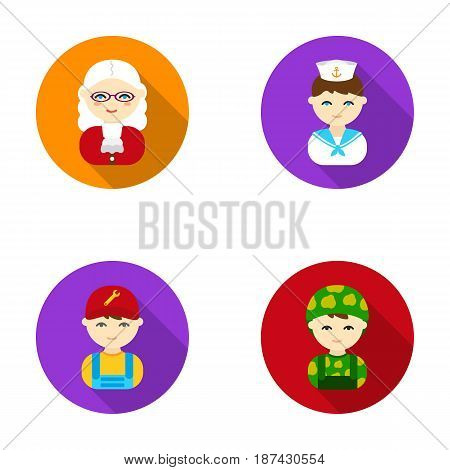 Judge, sailor, soldier, mechanic.Profession set collection icons in flat style vector symbol stock illustration .