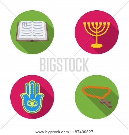 Bible, menorah, hamsa, orthodox cross.Religion set collection icons in flat style vector symbol stock illustration .