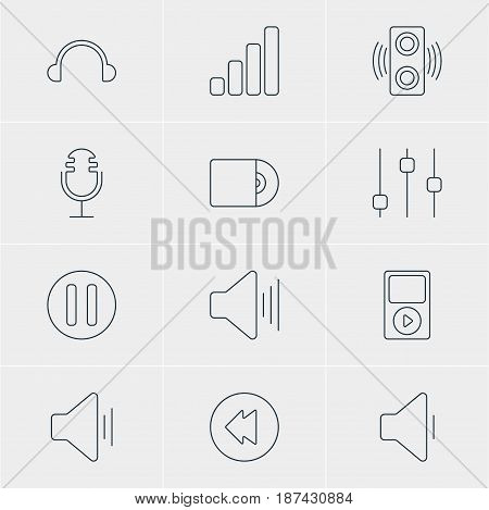 Vector Illustration Of 12 Music Icons. Editable Pack Of Compact Disk, Audio, Earphone And Other Elements.