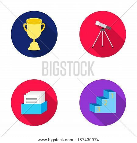 Cup, prize, telescope, catalog in a box and pedestal of honor. School set collection icons in flat style vector symbol stock illustration .