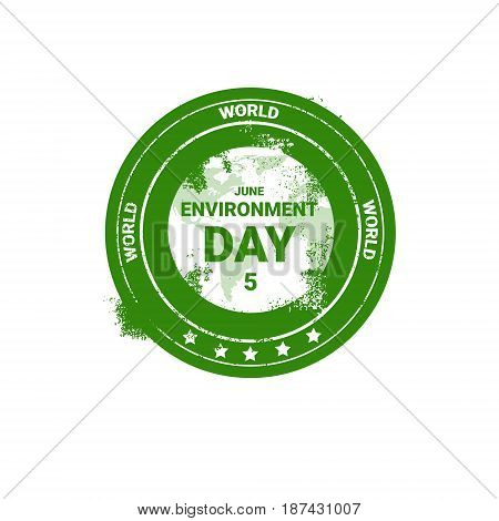 World Environment Day Stamp Icon Ecology Protection Holiday Logo Vector Illustration
