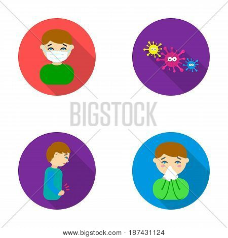 A man in a medical mask, a man who has a stomachache, a boy with a handkerchief, viruses, germs, bacteria. Sick set collection icons in flat style vector symbol stock illustration .