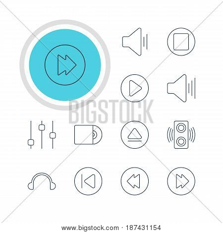 Vector Illustration Of 12 Music Icons. Editable Pack Of Pause, Advanced, Rewind And Other Elements.