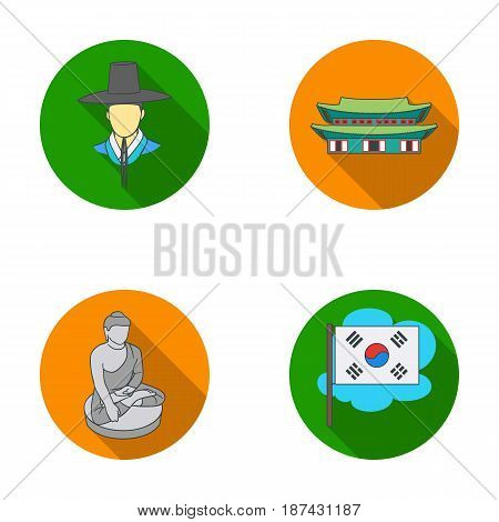 Korean in national headdress, Korean monastery, Buddha figurine, national flag. South Korea set collection icons in flat style vector symbol stock illustration