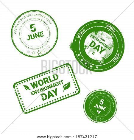 World Environment Day Stamp Icon Set Ecology Protection Holiday Logo Vector Illustration