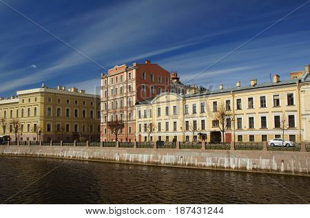 May morning on the Moika river in Saint Petersburg