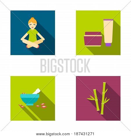 A girl in a yoga lotus pose, a jar of cream and a tube of ointment, a crush with a bowl and rose petals, bamboo with green leaves. Spa set collection icons in flat style vector symbol stock illustration .