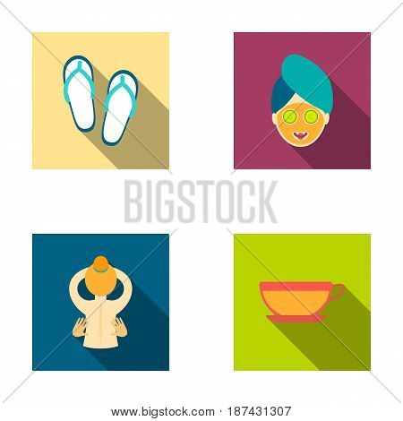Slippers for the spa salon, a girl s face with a cucumber mask with a towel on her head, massage with her hands on her back, a cup with a refreshing drink.Spa set collection icons in flat style vector symbol stock illustration .