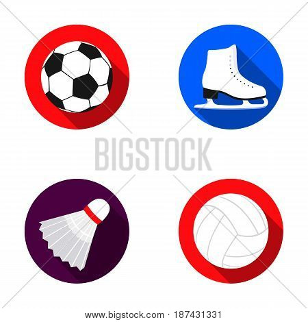 A soccer ball, figure skating skates, a shuttlecock for a badminton, a ball for volleyball. Sport set collection icons in flat style vector symbol stock illustration .