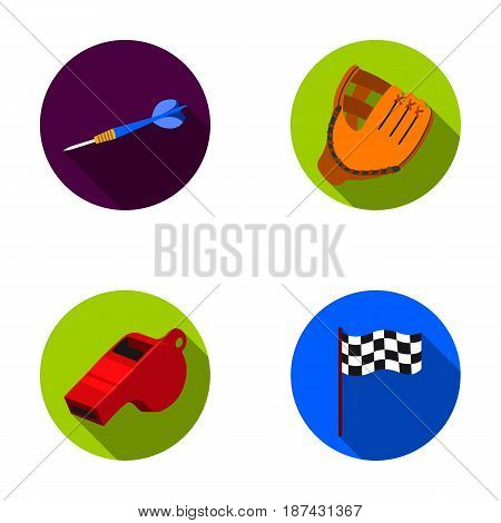 Darts for the game of darts, whistle for the referee, glove for playing baseball, checkbox for the football field. Sport set collection icons in flat style vector symbol stock illustration .
