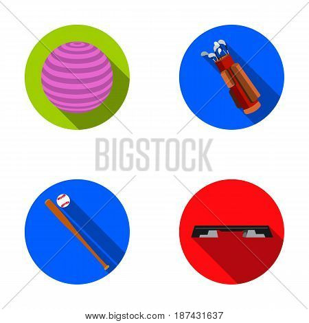 The ball for the game, coffer, a bag for golf clubs, a bat with baseball, a bench for fitness. Sport set collection icons in flat style vector symbol stock illustration .