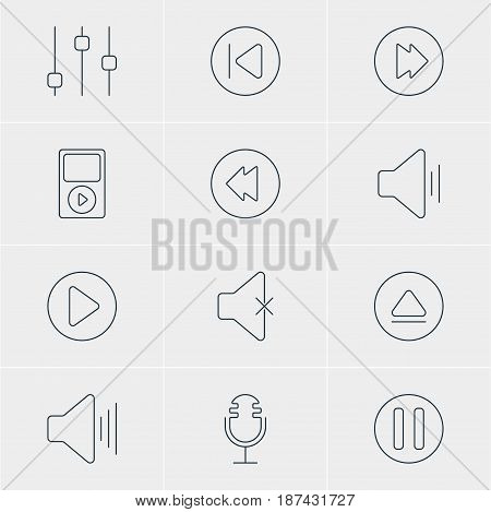 Vector Illustration Of 12 Melody Icons. Editable Pack Of Start, Audio, Mp3 And Other Elements.