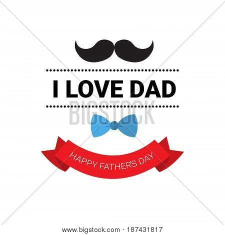 Happy Father Day Family Holiday Greeting Card Retro Poster Flat Vector Illustration