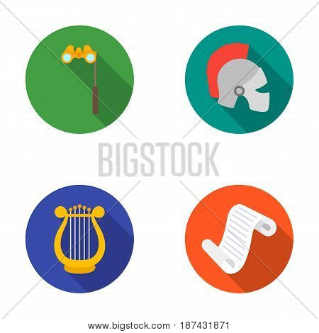 Theatrical binoculars, a helmet, a harp and a paper scroll. The theater set collection icons in flat style vector symbol stock illustration .