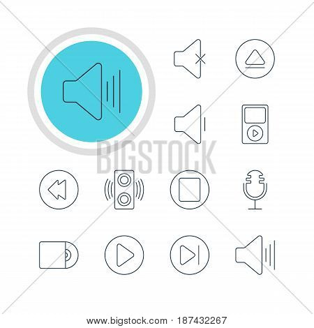Vector Illustration Of 12 Melody Icons. Editable Pack Of Subsequent, Rewind, Reversing And Other Elements.
