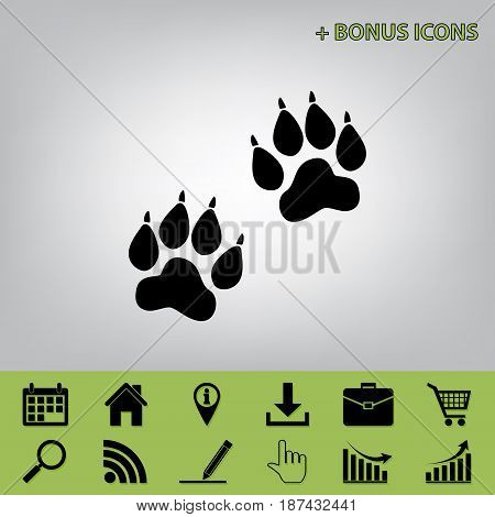 Animal Tracks sign. Vector. Black icon at gray background with bonus icons at celery ones
