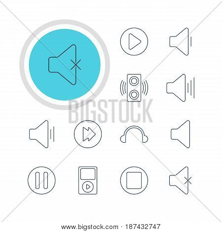 Vector Illustration Of 12 Melody Icons. Editable Pack Of Pause, Speaker, Amplifier And Other Elements.