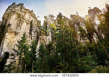 Fantastic view of the andstone Pillars. Teplice-Adrspach Rock Town. Czech Republic. Artistic picture. Beauty world.