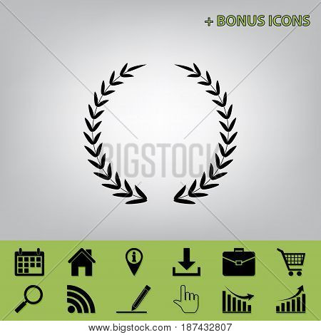 Laurel Wreath sign. Vector. Black icon at gray background with bonus icons at celery ones