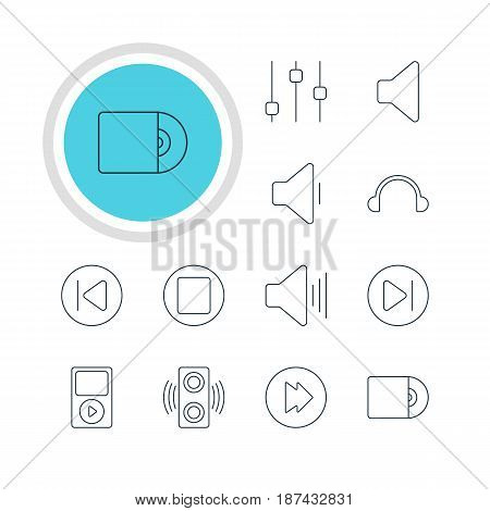 Vector Illustration Of 12 Music Icons. Editable Pack Of Compact Disk, Stabilizer, Preceding And Other Elements.