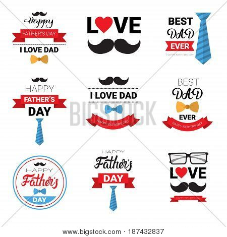 Happy Father Day Family Holiday Greeting Card Poster Set Flat Vector Illustration