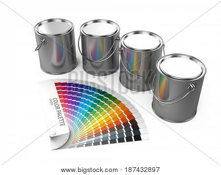 Paint cans and Color palette guide isolated on white background. 3d render