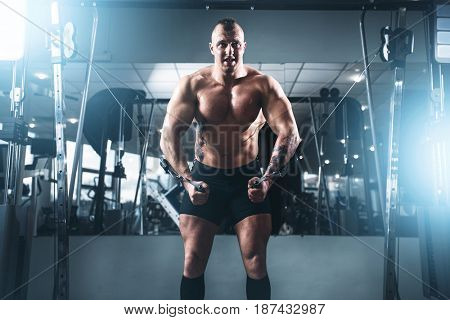 Weightlifting power training in sport gym